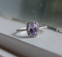 12ct Lavender violet cushion color change by EidelPrecious on Etsy.