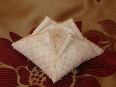 White & Ivory Silk Unique Wedding Ring Pillow Biscornu by RedCatt, £24.99