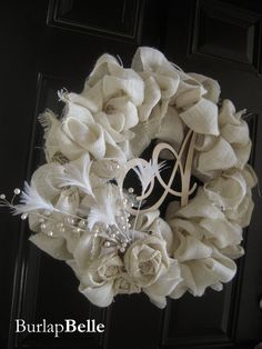 Beautiful White Burlap Wreath with Ivory Rosettes by BurlapBelle, $60.00