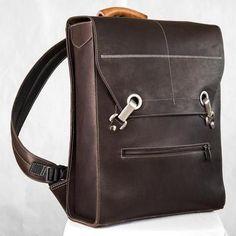 Brown Laptop Backpack | Brown Leather Laptop Bag | Handmade in Canada - Rimanchik Brown Leather Laptop Bag, Leather Backpack, Leather Bags, Laptop Backpack, Chocolate Brown, Leather Handle, Cowhide Leather, Vintage Designs, Backpacks