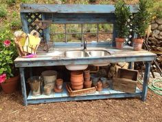 Love this blue potting bench with double stainless steel sink! 7 feet long Love this blue potting be Potting Bench With Sink, Outdoor Potting Bench, Potting Tables, Rustic Potting Benches, Rustic Outdoor, Outdoor Dining, Garden Table, Garden Pots, Garden Sheds