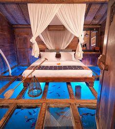 Les hôtels les plus originaux : l'hôtel Udang House à Bali, vous donnera l'impression de marcher sur l'eau