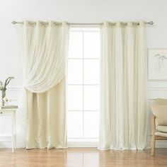 """August Grove Holland Solid Blackout Thermal Grommet Curtain Panels Size: 52"""" W x 96"""" L, Color: Beige"""