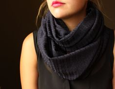 Navy Circle Scarf with a Stripe pattern Infinity by slyscarves, $25.00