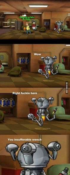 This is the actual reason these guys sometimes go berserk and kill people lol. Fallout Funny, Fallout Art, Fallout New Vegas, Fallout Quotes, Fallout Tips, Fallout Posters, Video Game Memes, Video Games, Mr Handy