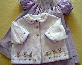 """Buttons and Bunnies - Dakota Pique w/ Lavender Pima 1/32"""" micro check - Sizes 6 months - 3 years"""