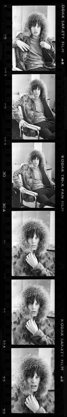 Vintage Contact Sheet: Mick Jagger Swathed in a Fur Parka in 1964