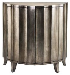 Shop for Stein World Gretta Demilune Cabinet, and other Living Room Cabinets at Stein World in Memphis, TN. This demilune cabinet has two touch-latch doors, and a handpainted textured metallic finish over silver leafing. Vintage Glam, Cosmopolitan, My Living Room, Living Room Furniture, Dining Rooms, Pewter Metal, Elk Lighting, Decorative Storage, Easy Storage