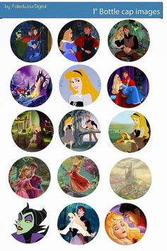 Free Bottle Cap Images: Sleeping beauty free digital bottle cap images 1""