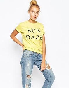 Adolescent Clothing Boyfriend T-Shirt With Sun Daze Print