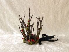 Small branches Crown with moss and small red berries (tree imitation) -handmade