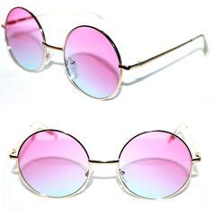 45c6e2e4c Women's Round Shape Sunglasses two tone Gradient lens Pink Blue Potter  Metal #Stars #Round