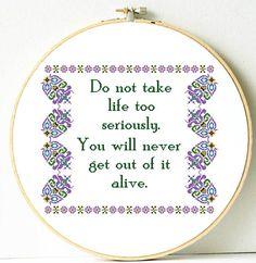 Funny cross stitch pattern. Retro cross stitch pattern.