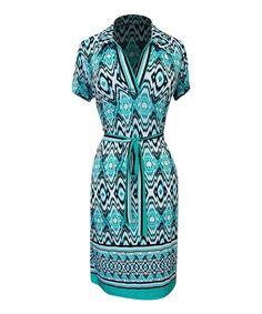 Look what I found on  zulily! Teal  amp  Aqua Ikat Tie-Waist 30d6d2b27f