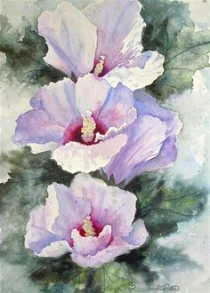 """Daily Paintworks - """"Althea Flowers"""" - Original Fine Art for Sale - © carolyn watson"""