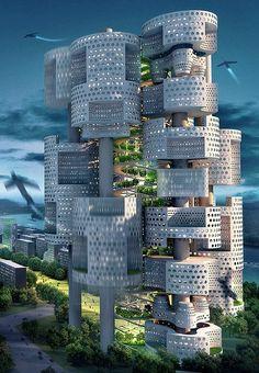 "Interlocking gears building ~ A concept design by ""Mass Studies"" in Seoul, Korea ☛ http://www.fastcompany.com/1135917/visions-south-koreas-urban-future"