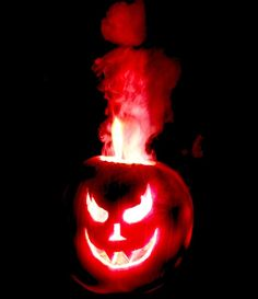The red flames shooting out of this Halloween pumpkin come from a strontium salt.