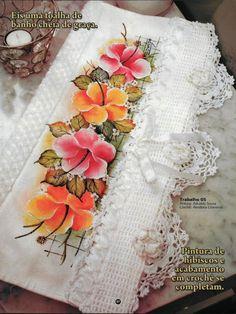 Pintura em Tecido Passo a Passo: Barrado de hibiscos pintados