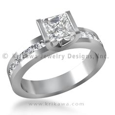 Beam Solitaire Engagement Ring - This sleek and modern engagement ring is shown with a 0.81 ct princess cut diamond in a semi-bezel. A beam of pave set diamonds (0.31 ctw) extend from the head.
