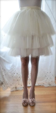 Carrie Tulle Skirt - Custom Color Romantic Tiered Tutu w Silk Lining, Satin Sash by Anjou - SATC Whimsical Wedding, Party, Prom, Plus Size. $128.00, via Etsy.