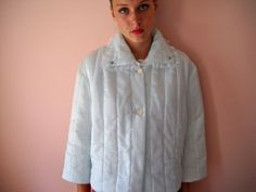 Vintage Lingerie Quilted Satin Bed Jacket  in Soft by Medicinew1