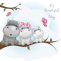 Three Cute Hippo Cartoon Sitting On The Branch Stock Vector - Illustration of decoration, doodle: 135339296 Baby Animal Drawings, Cartoon Drawings, Cute Drawings, Hippo Drawing, Baby Drawing, Cute Hippo, Baby Hippo, Butterfly Family, Funny Doodles