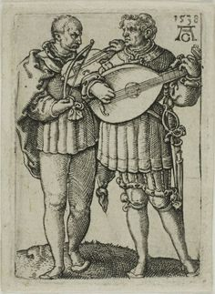 Heinrich Aldegrever German, Two Musicians Playing the Violin and the Lute, plate one from the Small Wedding Dancers Music Drawings, Pencil Art Drawings, Hans Baldung Grien, Renaissance Music, Hans Holbein The Younger, Violin Art, Early Music, Etching Prints, Engraving Art