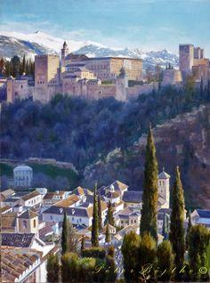 Título: Alhambra, tarde de invierno.  Técnica: Óleo sobre lienzo.  Tamaño: 81x60 cm.  Precio: Vendido.