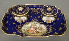 Blue Dresden porcelain desk set, late 19th c. : Lot 488