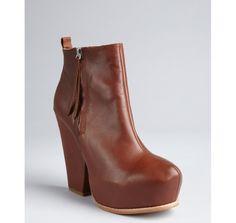 Matiko whiskey leather side zip platform 'Georgia' ankle boots