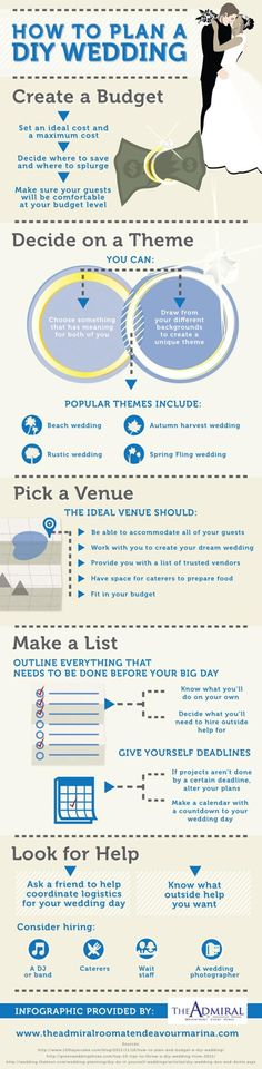 Check out this great do it yourself wedding infographic! Also, don't forget to check out our To-Do List.
