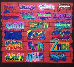 Mrs. McLain's Art Room - Graffiti Name Tags Middle school art project
