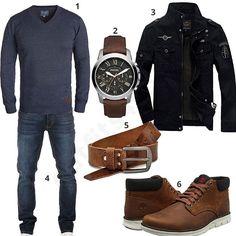 Männer-Outfit mit Blend Pullover, schwarzer Newbestyle Jacke, Yazubi Jeans, Volmer Ledergürtel, Timberland Bradstreet Lederschuhe und Fossil Armbanduhr.