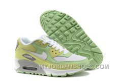Nike Air Max 90 Womens Grassgreen Yellow White Lastest YKdej
