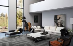 Love this casually sophisticated living room. Great Sectional, Chairs, Chaise Lounge, and Coffee Table.