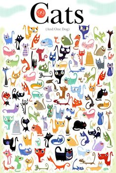 Draw Cats cute cat character design - Let me know if you find the Dog. I can't find him! Illustration by Bob Staake Crazy Cat Lady, Crazy Cats, Silly Cats, Cool Cats, I Love Cats, Gatos Cat, Photo Chat, Cat Character, Character Design