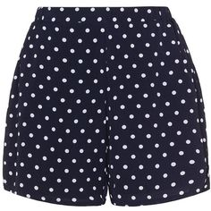 Zizzi Dark-Blue / White Plus Size Polka dot shorts (2.905 RUB) ❤ liked on Polyvore featuring shorts, plus size, woven shorts, plus size shorts, zizzi, plus size white shorts and white short shorts