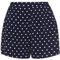 Zizzi Dark-Blue / White Plus Size Polka dot shorts ($58) ❤ liked on Polyvore featuring shorts, plus size, stretch waist shorts, dark blue shorts, elastic waistband shorts, white short shorts and plus size elastic waist shorts