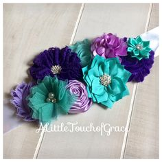 SASH SALE .Teal lavender purple Maternity Sash,Lavender teal purple Sash,mermaid baby shower,lavender baby shower,under the sea baby shower by ALittleTouchofGrace on Etsy https://www.etsy.com/listing/527238234/sash-sale-teal-lavender-purple-maternity Teal Baby Showers, Lavender Baby Showers, Baby Shower Purple, Boho Baby Shower, Baby Shower Sash, Mermaid Baby Showers, Purple Baby, Baby Shower Parties, Baby Boy Shower