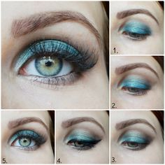 Turquise Make Up Tutorial | http://fifty-shades-of-beauty.blogspot.com/2014/05/turkusowy-makijaz-wieczorowy-krok-po.html