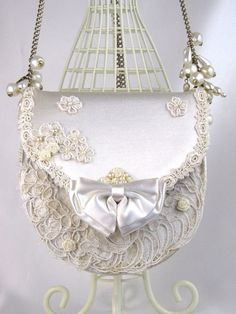 Bridal Purse Cream Satin with Lace and Pearl by ParisPennsylvania, $38.00