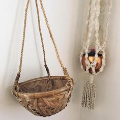Hanging basket planter / woven wall basket