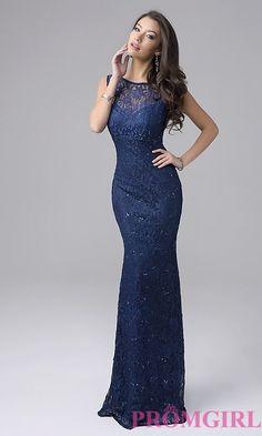 Image of long sleeveless lace prom dress Style: NC-7237 Front Image