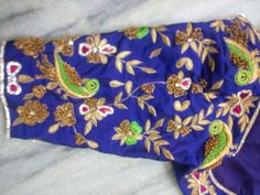 Elbow Length Blouse Designs for Silk Sarees Mirror Work Blouse, Hand Work Blouse, Pattu Saree Blouse Designs, Bridal Blouse Designs, Saris, Silk Sarees, Maggam Work Designs, Blouse Models, Blouse Patterns