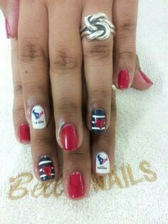 Houston Texans nail designs