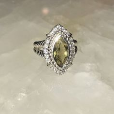 JUDITH RIPKA STERLING MARQUISE  OLIVE QUARTZ AND DIAMONQIUE RING - SIZE 8 #JudithRipka