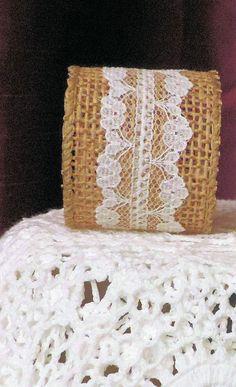 BURPLAP LACE NAPKIN Ring Wedding Napkin by ModernClassicbyCarol