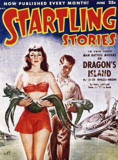 Startling Stories Dragons Island Vintage Science Fiction and Fantasy Book Cover Art Poster