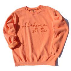 Oklahoma State Script Sweatshirt - Sumac Trading Co. College Shirts, School Shirts, Oklahoma Quotes, Oklahoma Tattoo, Oklahoma City Things To Do, Oklahoma Joe Smoker, Color Melon, Oklahoma State University, Spirit Wear