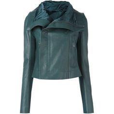 Rick Owens Classic Biker Jacket ($3,080) ❤ liked on Polyvore featuring outerwear, jackets, leather jacket, real leather jackets, motorcycle jacket, moto jackets, blue moto jacket and leather moto jackets